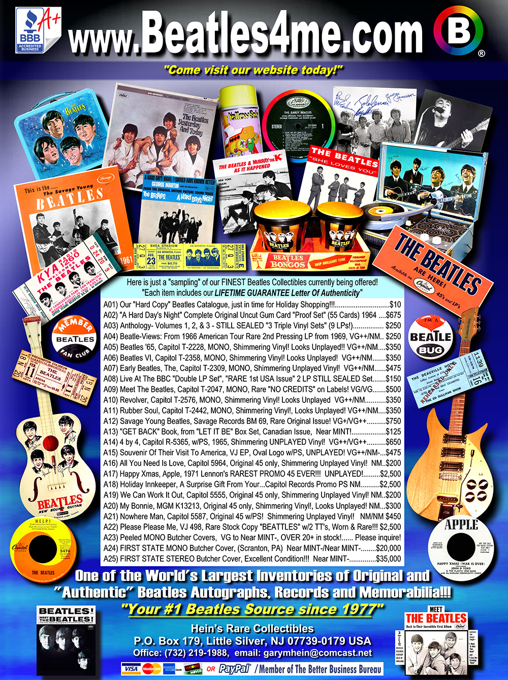 Shop Beatles Vinyl for sale, Beatles Records, Beatles Memorabilia, Beatles Collectibles and Beatles Butcher Covers @ Beatles Store Beatles4me.com!