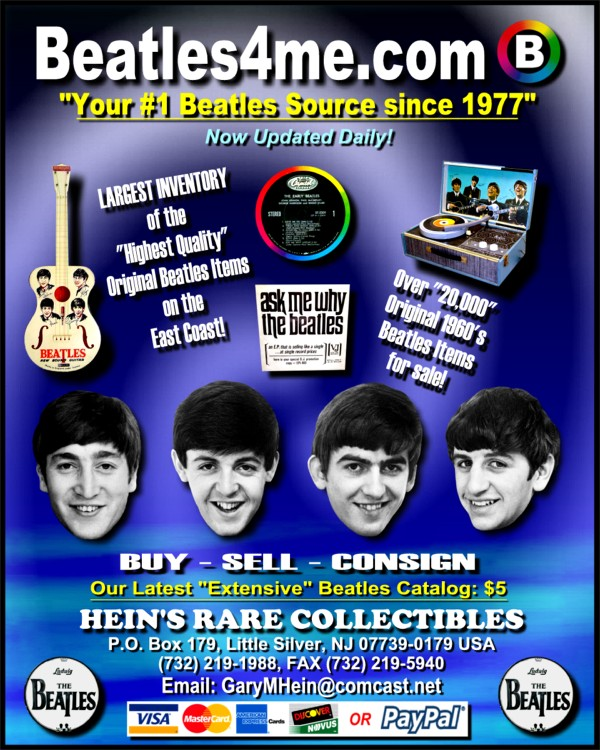 Promo Beatle Single available on our website.  Click here to view!